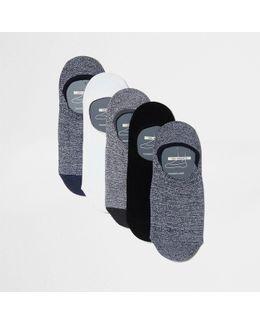 Grey Trainer Liner Socks Multipack