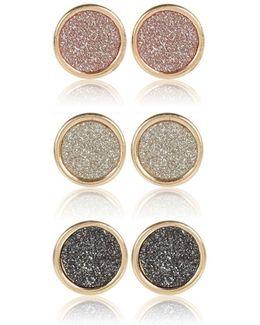 Gold Tone Glittery Studs Pack