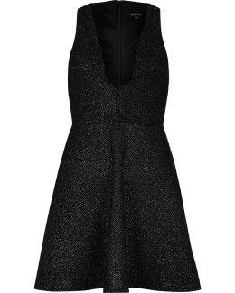 Sparkly Black Plunge Skater Dress