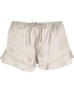 Grey Satin Frill Hem Pyjama Shorts