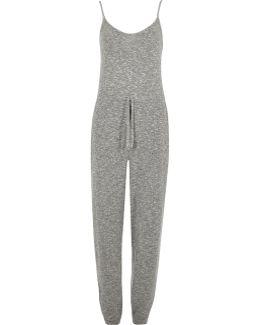 Grey Knit Drawstring Waist Jumpsuit