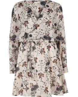 Cream Floral Print Smock Wrap Dress