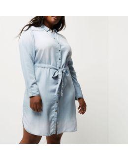 Plus Light Blue Tencel Shirt Dress