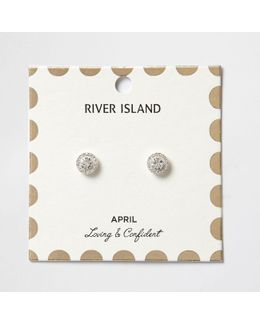 White April Birthstone Stud Earrings