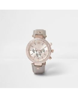 Plus Grey Watch With Embellished Dial