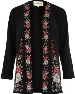 Black Floral Embroidered Duster Coat