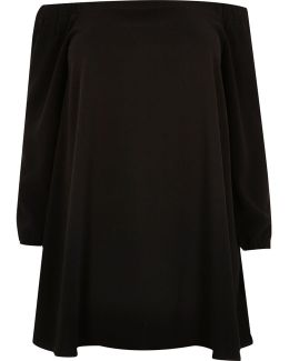 Plus Black Bardot Swing Dress