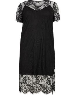 Plus Black Layered Lace Dress