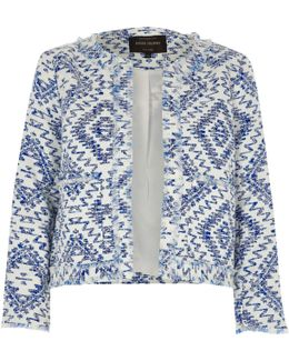 Blue Aztec Fringe Trophy Jacket