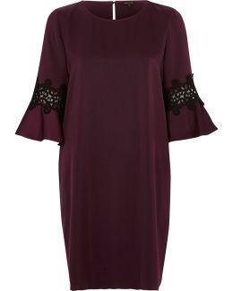 Dark Purple Bell Sleeve Swing Dress