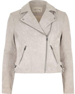 Light Grey Suede Biker Jacket