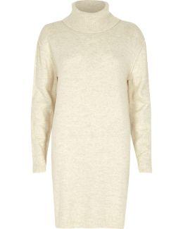 Cream Roll Neck Longline Knit Dress