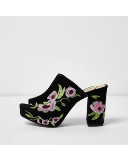 Black Floral Embroidered Block Heel Mules