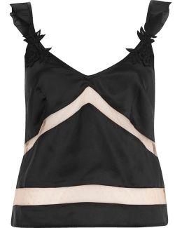 Black Satin Frill Cami Pyjama Top