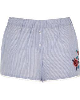 Blue Stripe Floral Embroidered Pyjama Shorts