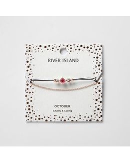 Pink October Birthstone Chain Bracelete