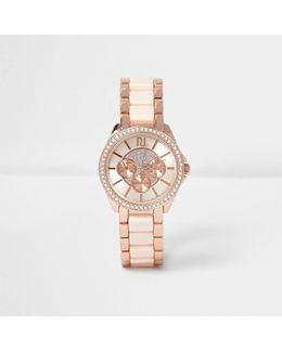 Rose Gold Tone Diamante Encrusted Watch