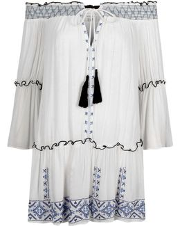 White Embroidered Shirred Bardot Beach Dress