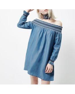Petite Blue Shirred Bardot Long Sleeve Dress