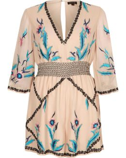 Cream Floral Embellished Kimono Playsuit
