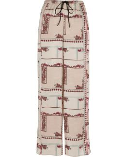 Cream Floral Wide Leg Palazzo Pyjama Trousers