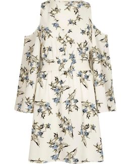 Cream Floral Cold Shoulder Puff Sleeve Dress