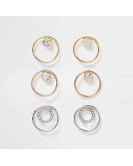 Metal Diamante Circle Earring Pack