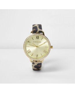 Brown Leopard Print Diamante Encrusted Watch