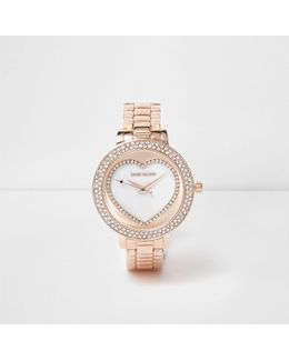 Rose Gold Tone Diamante Heart Watch