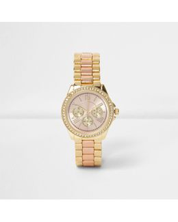 Rose Gold And Gold Tone Chain Diamante Watch