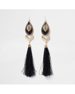 Gold Tone Statement Tassel Drop Earrings