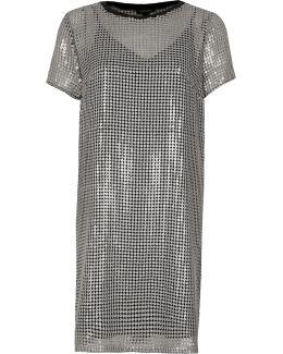 Silver Sequin T-shirt Dress