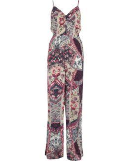 Purple Floral Print Wide Leg Jumpsuit