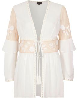 White Sheer Lace Embroidered Frill Robe
