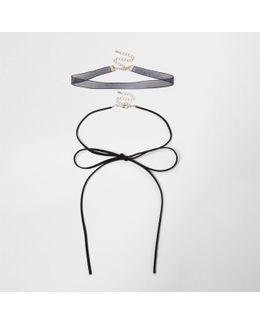 Black Bow Choker Bolo Necklace Set