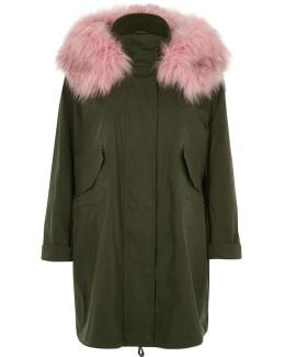 Khaki Green Pink Fur Collar Parka
