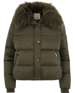 Khaki Green Fur Collar Puffer Jacket