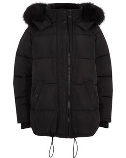 Black Oversized Puffer Fur Trim Coat