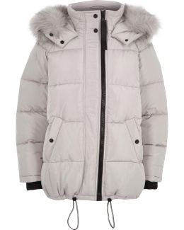 Light Grey Oversized Fur Trim Puffer Coat