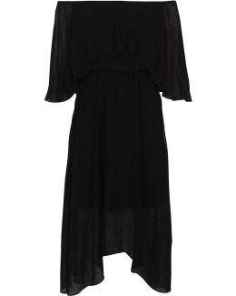 Black Bardot Frill Asymmetric Hem Midi Dress