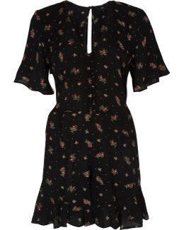 Black Ditsy Floral Frill Sleeve Playsuit