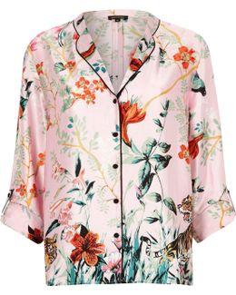 Pink Satin Jungle Print Pyjama Shirt