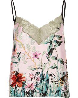 Pink Jungle Print Lace Cami Pyjama Top