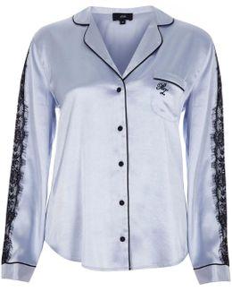 Light Blue Satin Pyjama Shirt