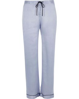 Blue Satin Lace Pyjama Bottoms