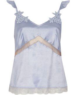 Light Blue Satin Lace Applique Pyjama Top