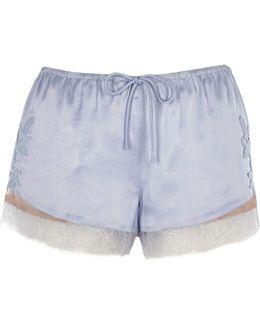 Light Blue Satin Lace Applique Pyjama Shorts