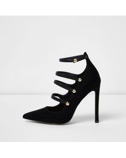 Black Strappy Front Court Shoes