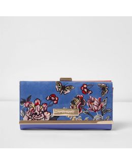 Light Blue Floral Embroidered Purse