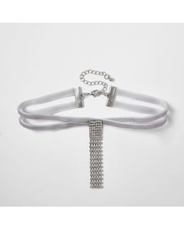 Light Grey Velvet Diamante Drop Choker